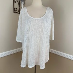 Ecote Lightweight Knit 3/4 Sleeve Sweater White